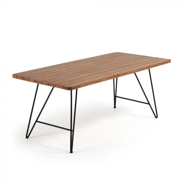 Tavoli In Acciaio E Legno.Tavolo Komme 200x90 In Legno Di Teak E Acciaio Nero By Laforma